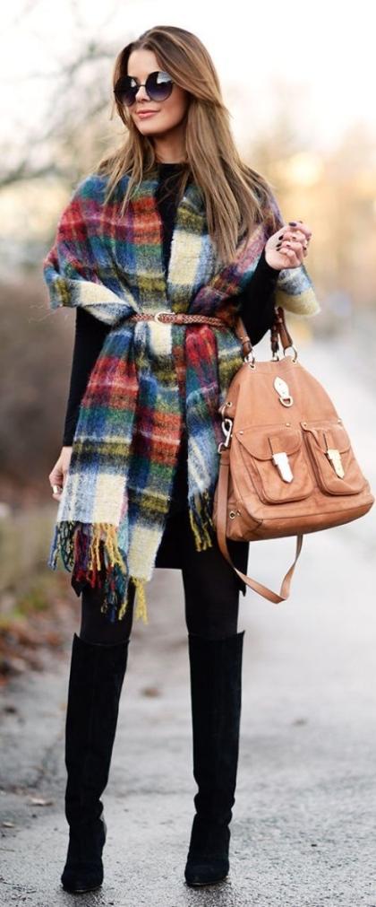 foulard-cape-carreaux-ceinture